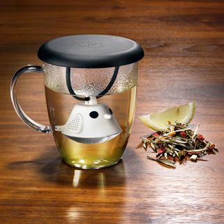 """Tee-Ei-Tasse """"Birdie"""" Die pfiffige Teetasse mit cleverem Vögelchen. Bringt gute Laune und duftend frischen Tee auf den Tisch."""