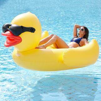 XXL-Schwimmente Mit stylisher Sonnenbrille und Platz genug für zwei. Aus stabiler, aufblasbarer PVC-Folie.