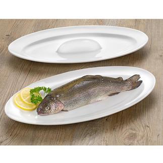Fisch-Brat- und Servierschale Saftig gebratener Fisch: Auf dieser genialen Ofenplatte einfach wie nie. Ohne kniffliges Wenden und Umsetzen.