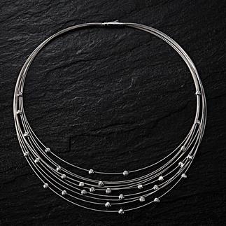 Brillant-Kabel-Collier Nur selten fällt so filigraner Schmuck so angenehm auf. Das 10-reihige Weissgold-Collier mit 31 Brillanten.