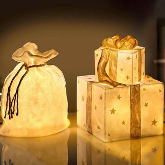 Weihnachtsbeutelleuchte oder Geschenkeleuchte Transluzente Steinoptik verbreitet wunderbar warmes Licht. Für drinnen und draussen.