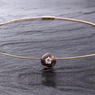 Diamant-Perlen-Collier Aussergewöhnlich: Ein brauner Diamant, gefasst in einer kostbaren Tahiti-Zuchtperle.