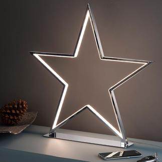 Sternenglanz Cooles, kitschfreies Deko-Objekt: der Aluminium-Stern mit LED-Leuchtkonturen.