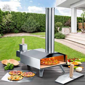Kompakter Holz-Pizzaofen Ultrakompakt, mobil und in nur 10 Minuten enorme 500 °C (!) heiss. Für Ihre beste Steinofen-Pizza wie beim Italiener.