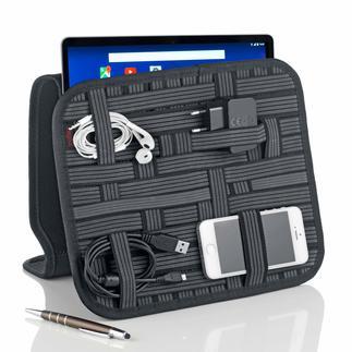 Tablet-/Zubehör-Organizer Alle Kleinteile sauber verstaut: Schluss mit der Suche nach Kabel, Adapter, Stift und Visitenkarte.
