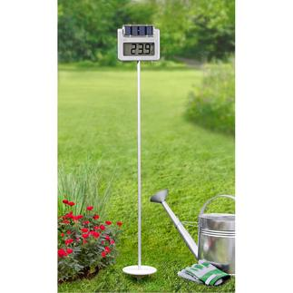 Solar-Gartenthermometer mit Funkuhr Mit Solarbeleuchtung, Zeitschalt-Automatik und Riesen-LC-Display. Auch aus dem Wintergarten, Wohn- und Esszimmer, ... noch leicht ablesbar.