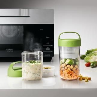 2-in-1 Lunch-Container Die bessere Lunchbox: bewahrt Salat & Dressing, Müsli & Früchte, Pasta & Sosse, ... appetitlich getrennt.