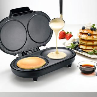 Pancake-Maker Zaubert die locker-leichten Eierkuchen schnell und genau nach Wunsch. 2 Stück zugleich.