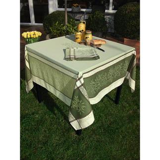 Gewebte Oliven-Tischwäsche Schönste Urlaubsstimmung für drinnen und draussen. Aus 100 % Baumwolle, strapazierfest und fleckgeschützt.