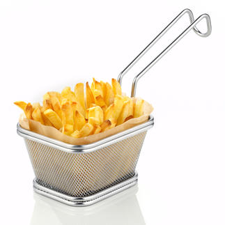 Servierkorb Street Food Servieren im angesagten Street Food Style. Der Edelstahl-Korb für frittierte Snacks und Beilagen.