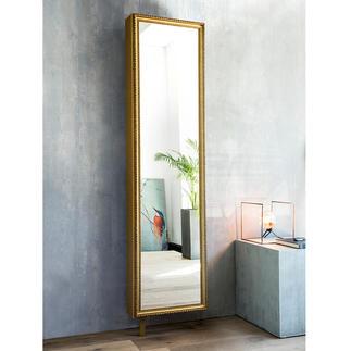 Spiegel-Drehschrank mit Rahmen Aussen prachtvoll. Innen viel praktischer Stauraum. Kaschiert raffiniert sechs Ablagefächer.
