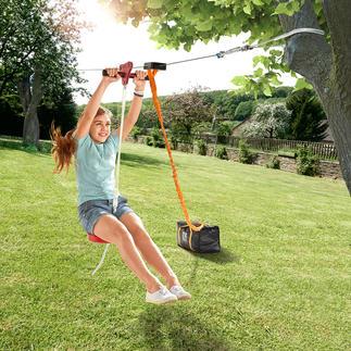 30-Meter-Seilrutsche Flug-Spass für den eigenen Garten: Die 30 Meter lange Seilrutsche mit Tellersitz. Einfach zwischen zwei gesunden Bäumen zu befestigen.