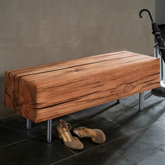 Sitzbank in Holzoptik Naturgetreu mit fotorealistischem Druck stoffbezogen. Für Drinnen und Draussen.
