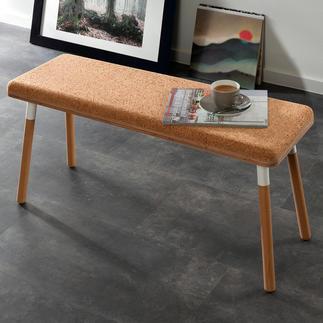Design-Sitzbank Pluta Trendmaterial Kork – endlich auch als Sitzbank. Aussergewöhnlich, stylish, robust. Sorgt von Natur aus für behagliche Atmosphäre.