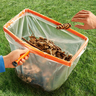 Müllsack-Helfer mit Holzstiel Der perfekte Helfer bei Gartenarbeit & Co.