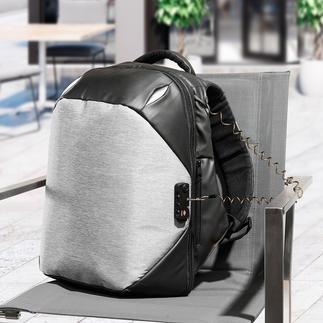 Anti-Diebstahl-Rucksack Schnitt- und stichfest. Mit TSA-Codeschloss, Stahlkabel zum Anketten, Doppel-Reissverschlüssen, ... Dabei schick, komfortabel und optimal organisiert.