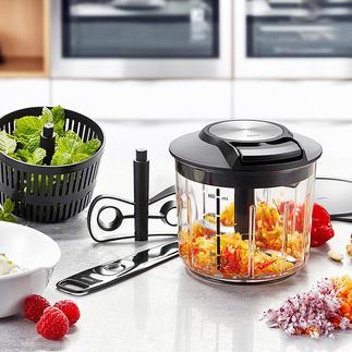 GEFU® Multi-Zerkleinerer In Sekunden: Gemüse schneiden, rühren, schlagen, mixen. Ohne Aufwand. Und ohne Strom.