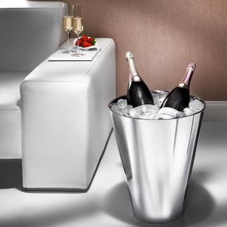 Champagnerkühler Im Magnum-Format, aus doppelwandigem Edelstahl. Hält sogar zwei Magnumflaschen eisgekühlt.