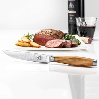 Damast-Steakmesser, 4er-Set Selten zu finden: Steakmesser mit edlen Damaszener-Klingen. Scharf, schnitthaltig, präzise. Qualität made in Germany.