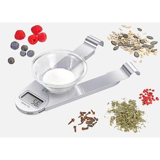 Klappbare Edelstahl-Küchenwaage Eleganter als die meisten ihrer Art: Die klappbare Design-Küchenwaage aus Edelstahl (statt Kunststoff).