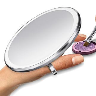 Sensor-Taschenspiegel Der bessere Sensor-Taschenspiegel: Leuchtet heller, gleichmässiger, farbgenauer – und vergrössert 3fach.