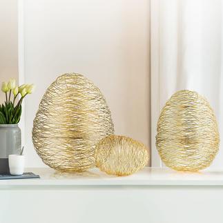 Drahtgeflecht-Eier Stylisher Osterschmuck fernab von jedem Kitsch: Die festlichen Ostereier aus Edelstahl.
