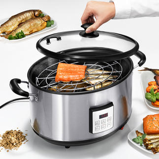 Elektrischer Räuchertopf Auf Tastentipp verwöhnen Sie Familie und Gäste mit Räucherdelikatessen wie im Gourmet-Restaurant.