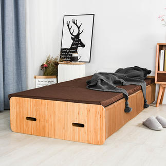Paper Bed Traumhaft bequem. Im Nu schmal verstaut – oder komfortabel als Polstersessel, Sitzbank.