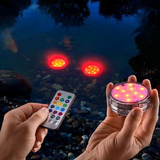 Wasserfeste LED-Farbleuchten, 3er-Set Kabellose (Farb-)Lichtakzente für drinnen und draussen. Sogar im Gartenteich, Pool, ...