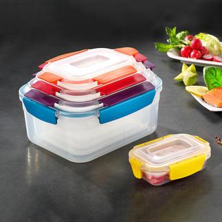 5-in-1 Frischhaltebox Funktion im stylishen Multicolor. Von Joseph Joseph, London.