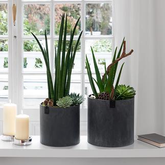 Ultraleichte Vase oder Ultraleichte Übertöpfe, 2er-Set Trendiger Beton? Viel mehr: ultraleicht, wasserdicht und ressourcenschonend.