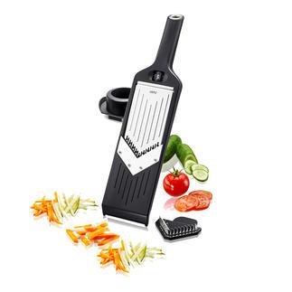 Kompakter V-Hobel Hobelt Scheiben, Stifte und feine Juliennes – ohne Rucken und Reissen. Passt in jede Schublade. Und sogar an die Küchenreling.