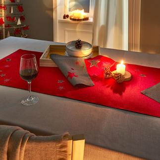 Sternenzauber Tischsets und Tischläufer Doppellagig gearbeitet, mit aufwändiger Sternenstickerei und Durchbruchmuster