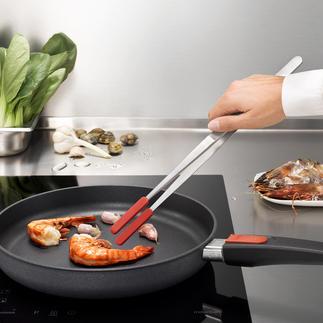 Küchenpinzette mit aufsteckbaren Silikonspitzen Die Küchenpinzette der Profis: hochwertig aus Edelstahl mit aufsteckbaren Silikonspitzen.