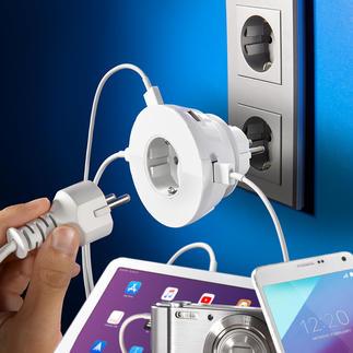 Steckdoseneinsatz mit 4 USB-Ports 4 USB-Power-Ports – und die Netzsteckdose bleibt frei. 30-V-Steckdose und Ladeplatz für Handy & Co. in einem.