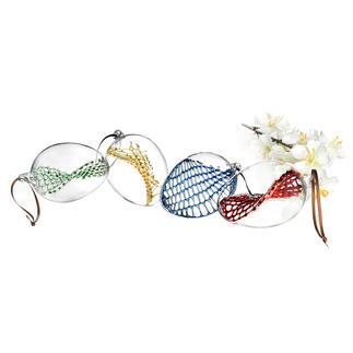 Glasnetz-Ostereier, 4er-Set Aussen schlichtes Klarglas. Innen mit kunstvoll handgefertigtem Glasnetz.