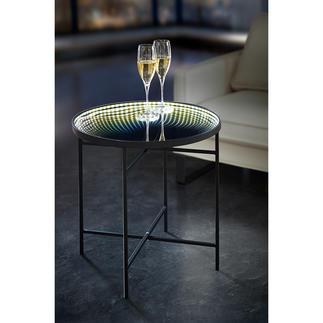 LED-Tisch Reflektion Magisches Lichtermeer: der Tisch mit LED-Lichterkranz und Unendlichkeitsspiegel.