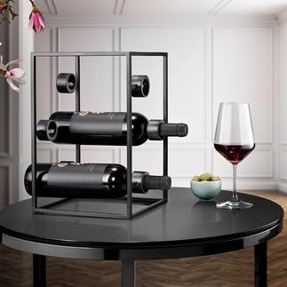 Design-Weinwürfel Drei Trends in einem: schwarzer Stahl, puristisches Design, geometrische Form.