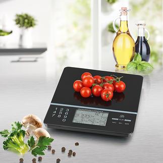 Küchenwaage Food Control Die intelligente Küchenwaage: kennt Kalorienzahl und Nährwerte von 999 (!) verschiedenen Lebensmitteln.