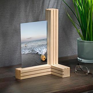 Vario-Bilder-/Kartenhalter 3 Holzleisten. 12 feine Spalten. Unzählige Möglichkeiten, Fotos und mehr zu arrangieren.