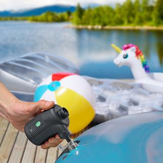 2-in-1 Akku-Luftpumpe Bläst Luftbett, Schlauchboot, Schwimmtier, ... auf. Facht Grill und Feuerstelle an. Entlüftet Vakuum-Kleiderbeutel.