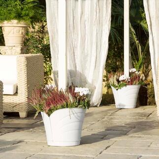 360°-Blumenkübel Stilvolle 2-teilige Konstruktion für runde und eckige Stangen. Ohne Aufwand und Werkzeug in Sekunden angebracht.