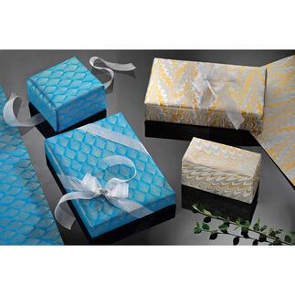 Handgemachtes Geschenkpapier, 9er-Set Geschenkpapier der Luxusklasse: von Hand geschöpft, handbedruckt und handmarmoriert.