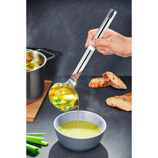 Fett-Trenn-Kelle Suppen und Sossen entfetten – schnell und einfach wie nie. Einfach schöpfen, abgiessen – fertig.
