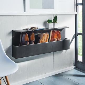 Design-Schuhbox Dänisches Design hält Ihre Schuhe bequem in Greifhöhe – und den Fussboden frei. Die stylishe Wandbox fasst 4-5 Paar: ordentlich aufgereiht, mit einem Griff parat.