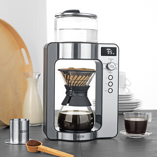 Pour-Over-Kaffeemaschine mit Waage Moderne Pour-Over-Technologie mit integrierter Kaffeewaage. Benässt das Pulver so gleichmässig und sorgsam wie von Hand. Brüht Ihren Kaffee genau, wie Sie ihn mögen.