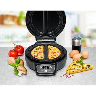 RommelsbacherOmelettChef Perfekt gebackene Omeletts. 2 Stück zugleich. Einfach, sicher und sauber wie nie. Kein kniffliges Wenden. Nichts zerbricht. Nichts fällt daneben.