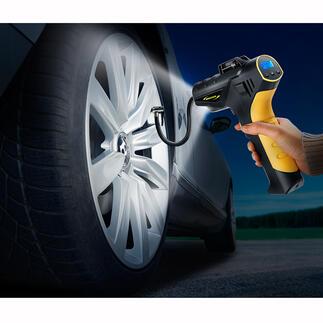 Akku-Kompressor-Pumpe4,5 bar Reifendruck prüfen und korrigieren – zu Hause und unterwegs. Komfortabel wie an der Tankstelle.
