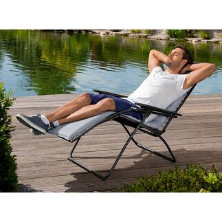 Lafuma Relax Liege Der Relax Chair made in France. Patentierte, stufenlos verstellbare Ruheposition und patentierte Clip-Aufhängung. Mit komfortablem Sunbrella® Polsterbezug.