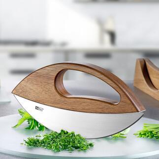Einhand-WiegemesserWave Ihre frischen Kräuter: leicht und aromaschonend schneiden (statt hacken und quetschen). Design-Qualität made in Germany.